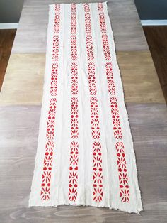 Table Runner - White with Red Mudcloth - Christmas Table Runner - Holiday Table Runner - Bohemian by avelynlane on Etsy