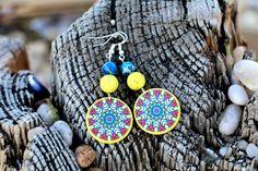 Denim Blue Dangle Earrings Sterling Silver Yellow Dangles Natural Stone Earrings Magnesite Jewelry Decoupage Earrings Unusual Bohemian (24.00 USD) by JewelryByJolanta
