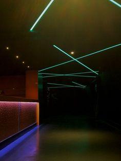 ATIKA club - France  Blue green NANOLIGHT strip on ceiling