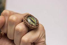 Green Dragon Eye Ring Raw boho copper Jewel Mother of
