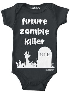 "Infant's ""Future Zombie Killer"" Onesie by Rudechix (Black)"