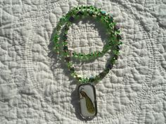 Hippie Necklace Peacock Pendant Green Necklace by LandofBridget