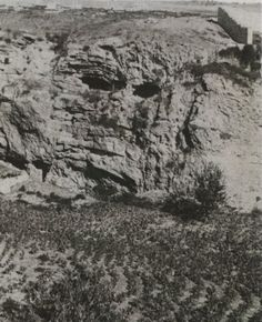 Old photograph of the skull of Mount Golgotha.