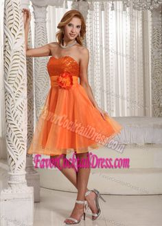 Sassy Sequin Sweetheart Handmade Flower Orange Evening Cocktail Dresses