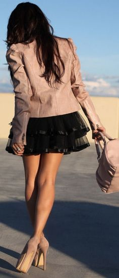 Black Tulle & Nude Moto <3 would want the skirt to be knee length or a little above, but gorgeousss outfit!