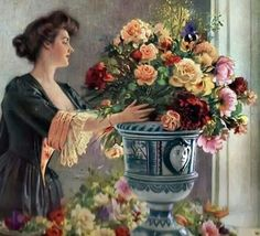 Albert Lynch - Woman arranging flowers, detail.