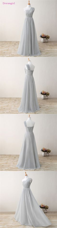 Silver 2018 Cheap Bridesmaid Dresses Under 50 A-line One-shoulder Sequins Sparkle Long Wedding Party Dresses