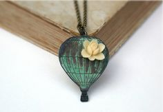 Sweet Hot Air Balloon Charm Necklace by roomofyourown on Etsy, $32.00