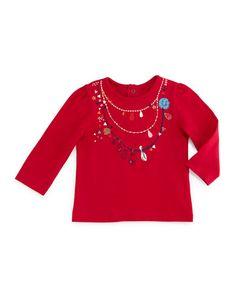 Z1K1S Catimini Long-Sleeve Necklace-Print Jersey Tee, Fuchsia, Size 6M-2