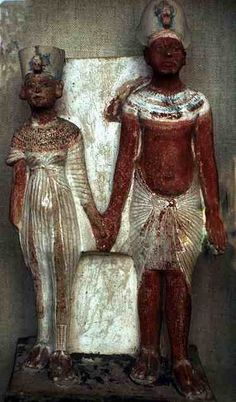 Akhenaten and Nefertiti * This is a beautiful piece from late in their reign - not so stylized, & not so enamored of e.o. - perhaps the affair had come to light...