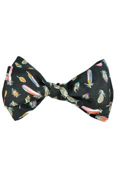 Leonard bow tie with novelty design, black feathers, self tie bow tie