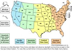 Us Time Map Time Zones
