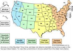United States Time Zone Map.  timetemperature.com