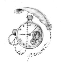 Tatto Ideas 2017  clock and feather tattoo | th07.deviantart.n
