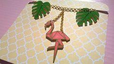 Collier tropical flamand rose et feuilles : Collier par magalily