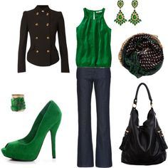 Love this green blouse and shoes!