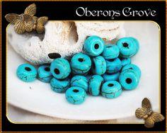 30 Magnesit Perlen türkis 4x6mm von OberonsGrove auf Etsy