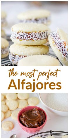 These are the best Alfajores recipe you will ever make! You have my dulce de leche loving word. Because I know alfajores, and these are the most traditional and perfect of them all. A recipe to treasure forever. No Bake Desserts, Delicious Desserts, Dessert Recipes, Yummy Food, Peruvian Desserts, Peruvian Recipes, Baking Recipes, Cookie Recipes, Argentina Food