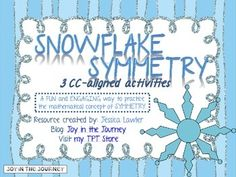 Looking for a FUN and ENGAGING way to practice and assess the mathematical concept of symmetry? Well look no further - Snowflake Symmetry is the packet for you! :)Packet includesSymmetry PosterSnowflake Symmetry: complete the snowflake picture A, B, and CDraw the Lines of Snowflake Symmetry Snowflake Symmetry or Not?~Answer keys included for all activities~*Common Core Aligned*CCSS.Math.Content.4.G.A.3Recognize a line of symmetry for a two-dimensional figure as a line across the figure such…