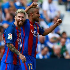 Rafael Alcantara alias Rafinha of FC Barcelona celebrates scoring their fifth…