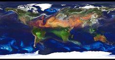 14.nov.2012 - A Nasa (Agência Espacial Norte-Americana) divulga mapa global de aerossóis atmosféricos, as suspensões estáveis de partículas sólidas ou líquidas na atmosfera que alteram o clima e prejudicar a saúde humana. No gráfico, é possível descobrir quais regiões do planeta são mais afetadas pela poeira que sobe da superfície (manchas vermelhas), pelo sal marinho que vai parar dentro de