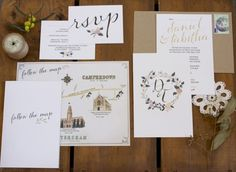 Whimsical Illustrated Hand Lettering Wedding Invitations | Oh So Beautiful Paper — Designspiration