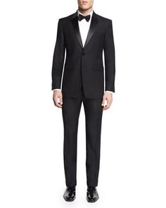 Wool/Mohair+Tuxedo,+Black+by+Burberry+London+at+Neiman+Marcus.