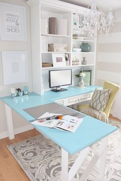 A corner desk would be perfect for interviewing families, and still be able to include a computer without it getting in the way!