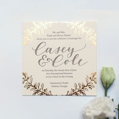 Beautiful gold foil wreath wedding invitation or save the date, calligraphy and design by Ashley Buzzy Lettering + Press