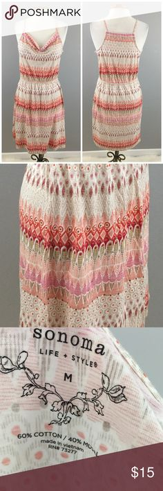 Sonoma Boho Print Cowl Front Tank Stretch Dress Sonoma Boho Print Cowl Front Tank Stretch Dress. Size medium. Dress hits slightly above the knee in length. Thank you for looking at my listing. Please feel free to comment with any questions (no trades/modeling).  •Fabric: 60% Cotton 40% Modal  •Condition: EUC, no visible flaws.   25% off all Bundles or 3+ items! Reasonable offers welcome. Visit me on INSTA @reupfashions. Sonoma Dresses Mini