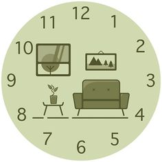 Living Room With A View vector piece of a retro / vintage chair! Available as a clock, acrylic block, print and more! #green #couch #sofa #vintage #retro #clock