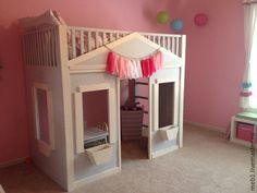 Купить Кроватка-доомик - кремовый, кровать детская, кровать из дерева, детская комната, детская