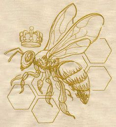 A detailed bee, crown, and honeycomb will be sweet on pillows, tea towels, and more.