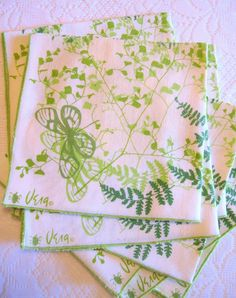 Vintage Vera Neumann 'Meadow Fern' Dinner Napkins Set of Eight Green and White Napkins by PastPiecesVintage on Etsy
