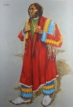 """Straight and True by Paul Pletka.  What I like best about this noble portrait is Paul's handling of this gentleman's moccasins. They are painterly and they reinforce the character of this man's firm resolve. Acrylic on paper, 40"""" X 31""""  $9,500"""