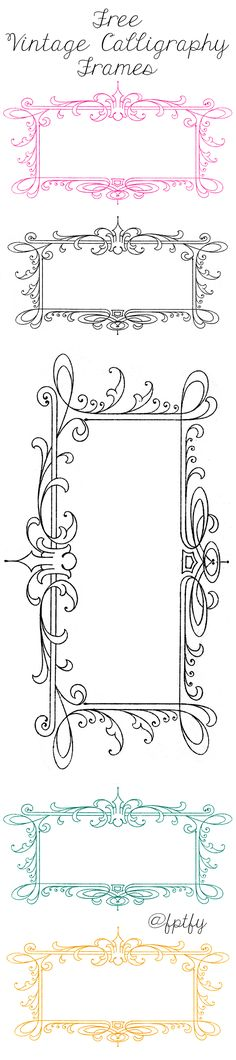 Free Vintage Calligraphy Frames - Lovely! - Free Pretty Things For You