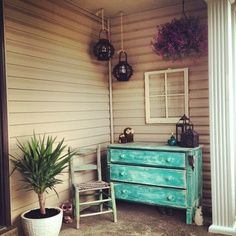 Old dresser on front porch
