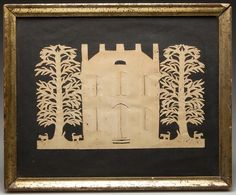 "AMERICAN FOLK ART CUT-PAPER PICTURE, laid on black paper backing, depicting a two-story, gothic-style house flanked by bird-filled trees with four dogs underneath.  Circa 1850-1880. 8 3/4"" x 10 3/4"" OA."