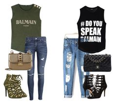 """My bestie and I "" by gabysman ❤ liked on Polyvore featuring Balmain, Michael Kors, Chanel, H&M and Valentino"