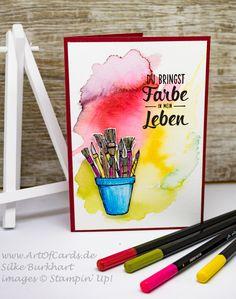 Du bringst Farbe in mein Leben! Grußkarte mit Produkten von Stampin' Up! Stempelset Alles Palette und Kreiert mit Liebe #artofcards #stampinup #stampinupdemonstrator #allespalette #farbe #grußkarte #selbstgemacht #handmade #stampin #kreativkannjeder