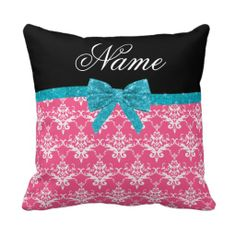 =>>Save on          Custom name pink damask turquoise glitter bow pillows           Custom name pink damask turquoise glitter bow pillows you will get best price offer lowest prices or diccount couponeDiscount Deals          Custom name pink damask turquoise glitter bow pillows lowest price...Cleck Hot Deals >>> http://www.zazzle.com/custom_name_pink_damask_turquoise_glitter_bow_pillow-189217825634873949?rf=238627982471231924&zbar=1&tc=terrest