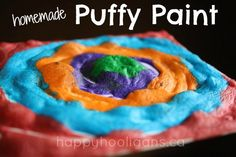 3-Ingredient, homemade PUFFY PAINT!  So easy to make.  All you need are 3 kitchen ingredients and a microwave!  Paint a picture, and watch it puff up into a 3 dimensional work of art! - Happy Hooligans