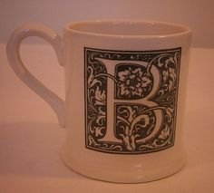 "Large Letter ""B"" Coffee Mug Cup Black on White Monogram B Creative Tops, England #CreativeTops"