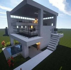 @minecraft_biome modern house build #Coolminecrafthouses Pool House Designs, Building Design, Pool Houses, Mansions, House Styles, Ideas, Home Decor, Mansion Houses, Homemade Home Decor