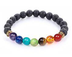 7 chakra curativo pulsera con Lava volcánica, pulsera Mala meditación pulsera - protección, energía, sanación