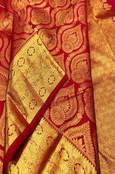 Shop more Handloom Kanjeevaram Saree at Luxurionworld. Bridal Sarees South Indian, South Silk Sarees, Bridal Silk Saree, Silk Saree Banarasi, Crepe Silk Sarees, Pure Silk Sarees, Netted Blouse Designs, Pattu Saree Blouse Designs, Pattu Sarees Wedding
