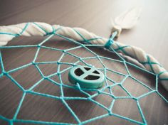 Dream Catcher - Peace - With Turquoise Peace Sign, White Feather, White Frame and Turquoise Nett - Home Decor, Mobile - $16