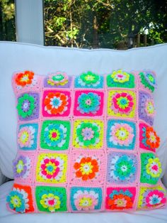 Colourful Crochet Cushion Flowers In A Square Stunning by LillyBev, £40.00