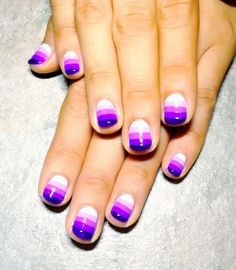 Purple striped ombre nails