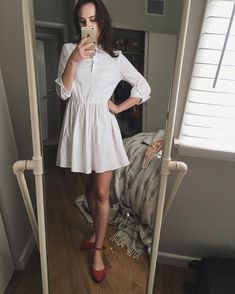 Dainty white dress and red flats